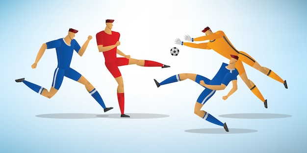 Illustration of soccer players