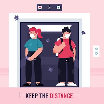 Illustration of social distancing in an elevator