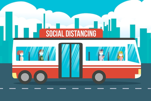 Illustration of social distancing in public transportation
