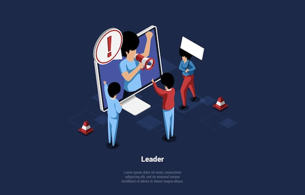 Illustration of social media leader. group of people looking at laptop.