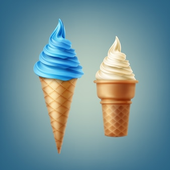 Illustration of soft ice cream various flavors in different cones isolated
