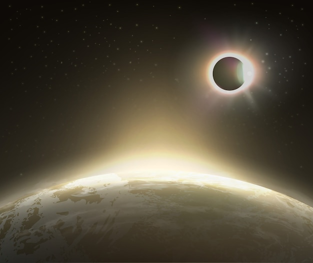 Illustration of solar eclipse view from space with earth on background