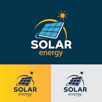 Illustration of solar panels logo design template