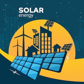 Illustration of solar panels, wind turbines