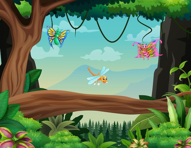 Illustration of some insects flying in the forest