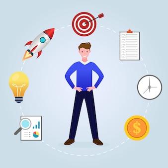 Illustration of someone working multitasking