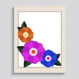 Illustration of sorry card with three color of flower.