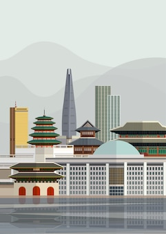 Illustration of south korean landmarks