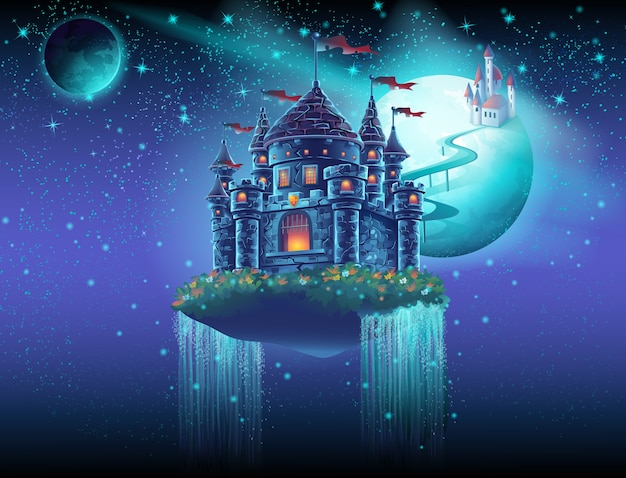 Иллюстрация космический замок с водопадом на фоне планеты
