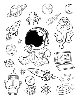Illustration space doodle