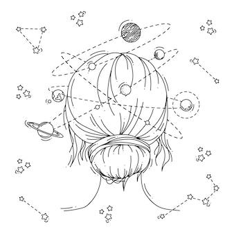 女性のイラストスペースヘッド