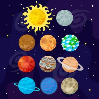 Illustration of space, universe. cartoon planets. kids illustration.