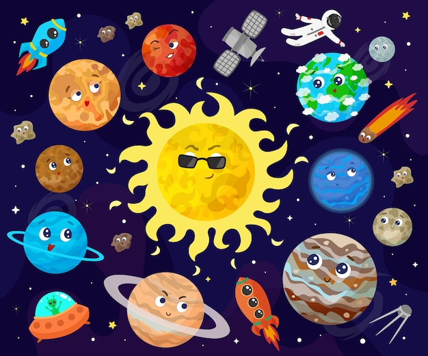 Illustration of space, universe. cute cartoon planets, asteroids, comet, rockets.