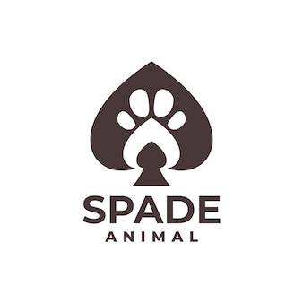 Illustration of a spade with an animal footprint inside good for any business related to card game