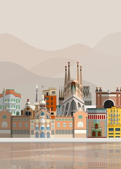 Illustration of spanish landmarks