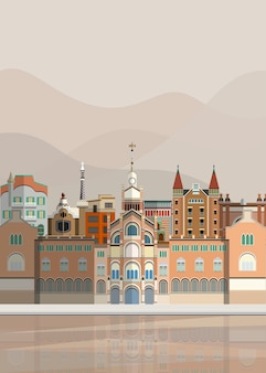 Illustration of spanish landmarks