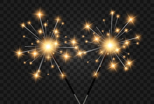 Illustration of sparklers on a transparent background.
