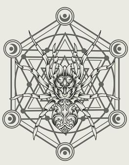 Illustration spider ornament on sacred geometry