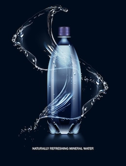 Illustration of splashes of water flowing around plastic bottle with cap