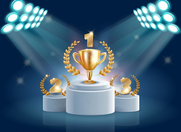 Illustration of splendid honorary prize pedestal realistic.
