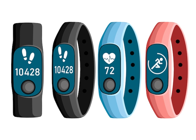 Illustration of sport accessories. collection of smart band.   wristband with running activity steps counter and heartbeat pulse meter. sport bracelet with button