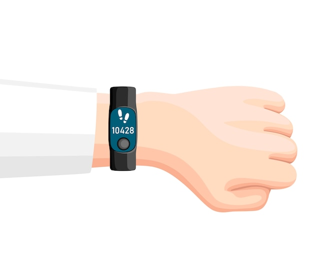 Illustration of sport accessories. smart band on hand.   wristband with steps counter. sport bracelet with button.  on white background