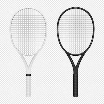 Illustration of sports realistic icon set - two tennis rackets.