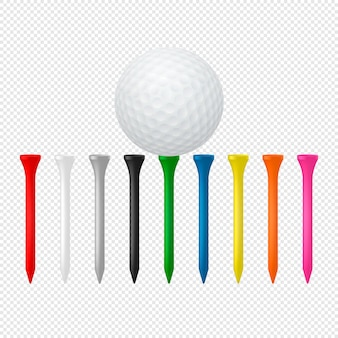 Illustration of sports set - realistic golf ball with tees.