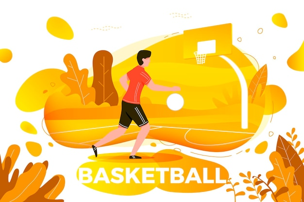 Illustration - sporty man playing basketball. court, park, trees, hills on autumn background