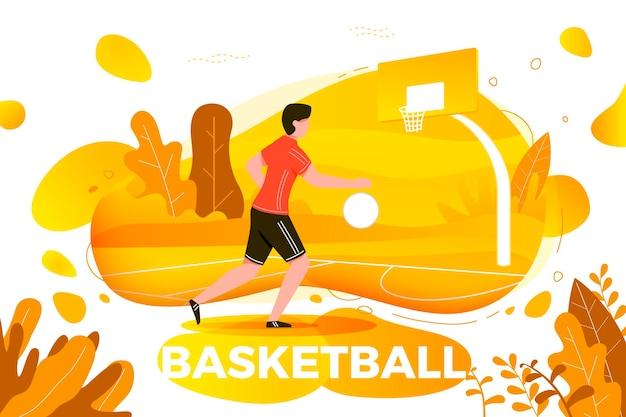 イラスト-バスケットボールをしているスポーティーな男。裁判所、公園、木、秋の背景の丘