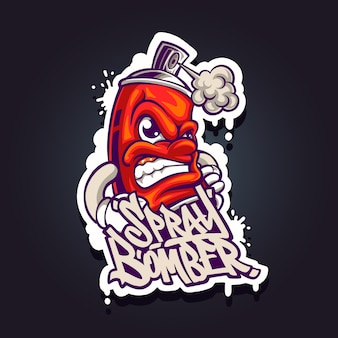 Illustration of spray bomber mascot logo