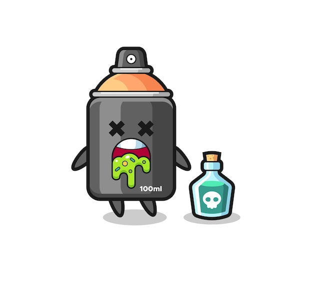 Illustration of an spray paint character vomiting due to poisoning , cute style design for t shirt, sticker, logo element