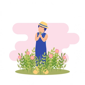 Illustration spring cute kid boy playing flower and eat candy at garden party