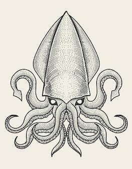 Иллюстрация кальмаров с винтажной гравировкой