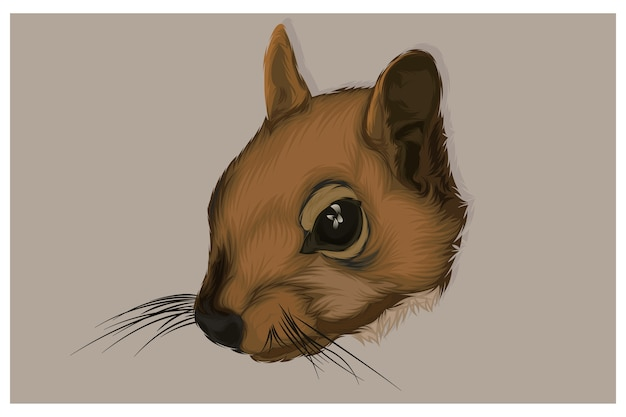 Illustration of a squirrel head