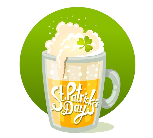 Illustration of st. patrick's day greeting with big mug of yellow beer in circle on green background. art