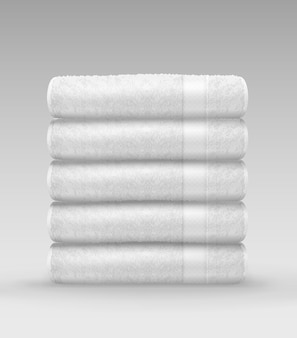 Illustration of stack white clean terry folded towels on gray background