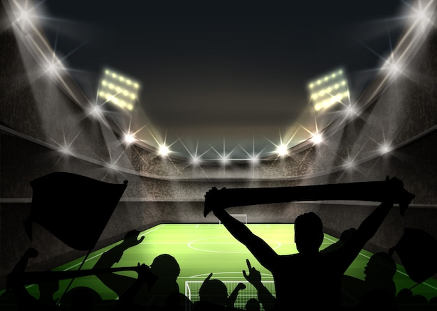 Illustration of stadium with bright spotlight illuminates green football field and fans silhouettes