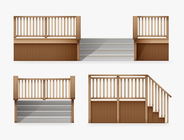 Illustration of staircase for entrance to house stairway of porch from wooden balustrade front and side view