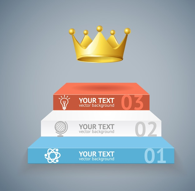 Illustration stairs and crown isolated on grey background option banner