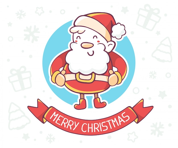 Illustration of standing full length santa claus with red ribbon