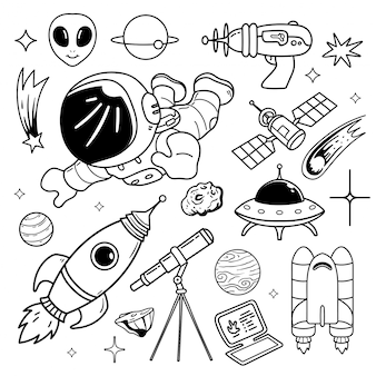 Illustration   of star space doodle