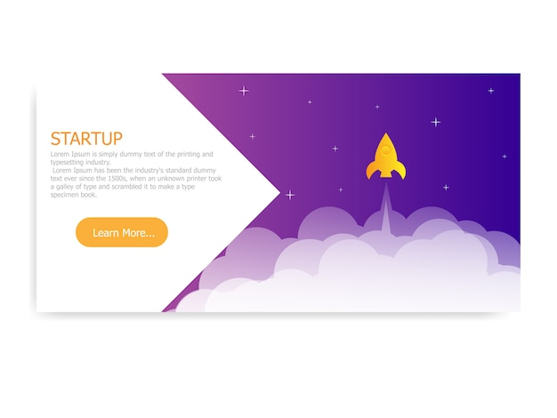 Illustration of startup landing page rocket launcher vector background