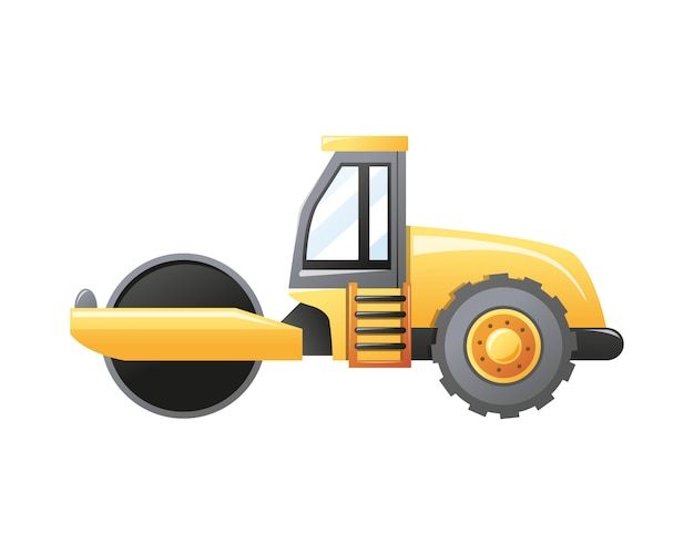 Illustration steamroller construction vehicle