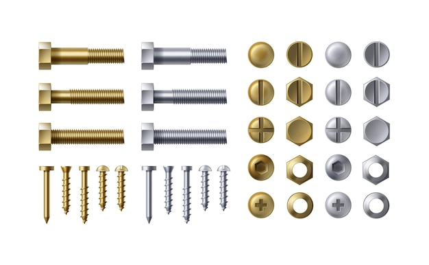 Illustration of steel and brass bolts, nails and screws on white background. heads types with nuts and washers, top view.