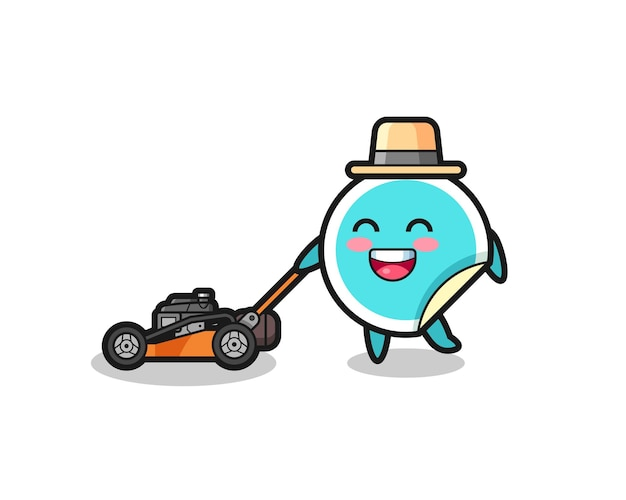 Illustration of the sticker character using lawn mower , cute style design for t shirt, sticker, logo element