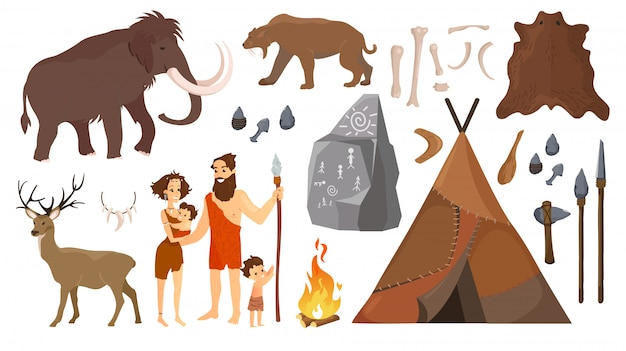 Illustration of stone age people with elements for life, hunting tools.