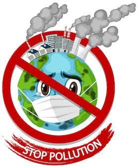 Illustration for stop pollution with earth wearing mask