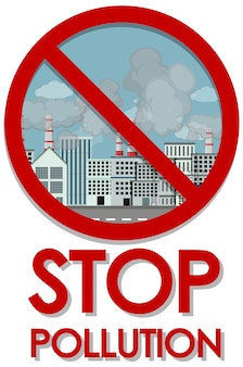 Illustration of stop pollution with factory buildings in the city