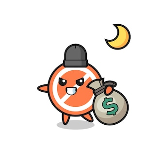 Illustration of stop sign cartoon is stolen the money , cute style design for t shirt, sticker, logo element